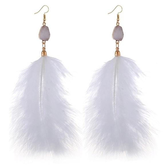 Purple Fashion Earrings Hooks Earrings Feather Earrings Handmade Feather Earrings Stones Earrings PURPLE Feather Earrings